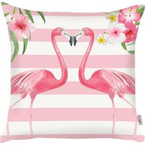 Růžový povlak na polštář Apolena Lovely Flamingos, 43x43cm
