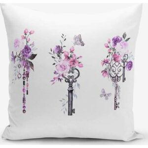 Povlak na polštář s příměsí bavlny Minimalist Cushion Covers Purple Key, 45 x 45 cm