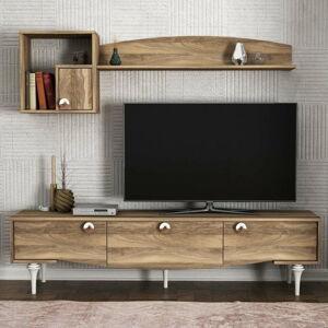 Set TV komody a nástěnných skříněk v dekoru ořechového dřeva Kumsal