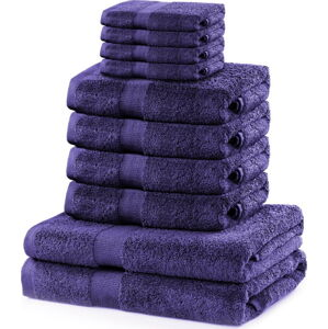 Set 8 fialových ručníků a 2 osušek DecoKing Marina Purple