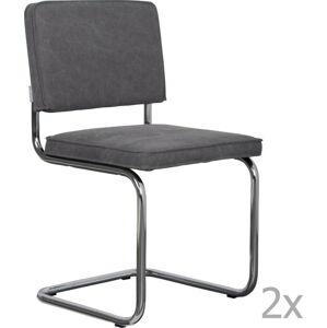 Sada 2 šedých židlí Zuiver Ridge Rib