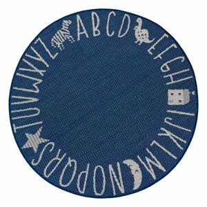 Modrý dětský koberec Ragami Letters, ø 120 cm