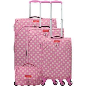 Set 3 růžových zavazadel na 4 kolečkách a kosmetického kufříku Lollipops