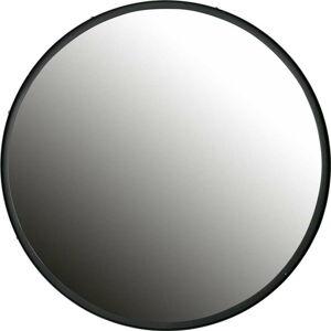 Nástěnné zrcadlo s černým rámem WOOOD Lauren, Ø80cm
