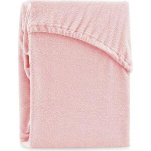 Světle růžové elastické prostěradlo na dvoulůžko AmeliaHome Ruby Siesta, 180/200 x 200 cm