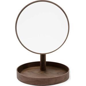 Kosmetické zrcadlo s rámem z ořechového dřeva Wireworks Cosmos,ø25cm