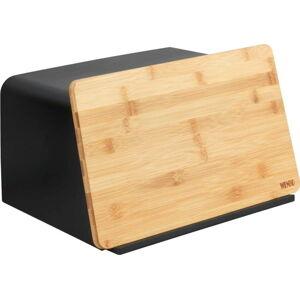 Černá dóza na chléb s bambusovým poklopem Wenko Kubo