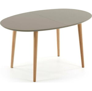Šedý oválný rozkládací jídelní stůl La Forma Oakland, 140 x 90 cm