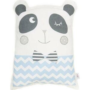 Modrý dětský polštářek s příměsí bavlny Apolena Pillow Toy Panda, 25 x 36 cm