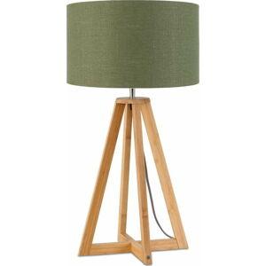Stolní lampa se zeleným stínidlem a konstrukcí z bambusu Good&Mojo Everest