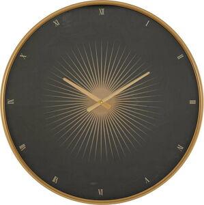 Černé nástěnné hodiny s rámem ve zlaté barvě Mauro Ferretti Glam Classic,ø60cm