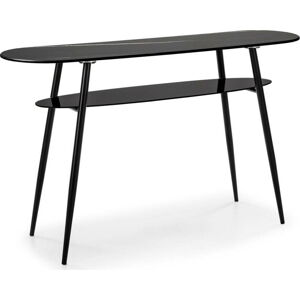 Černý konzolový stolek se skleněnou deskou v mramorovém dekoru Marckeric Alina