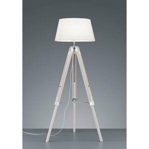 Bílá stojací lampa z přírodního dřeva a tkaniny Trio Tripod, výška 143 cm