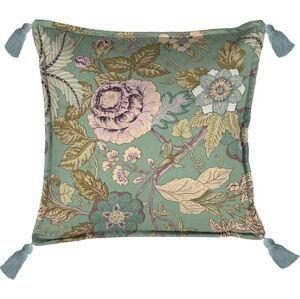 Zelený dekorativní polštář Velvet Atelier Japanese Flowers, 45 x 45 cm