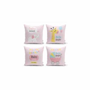 Sada 4 dekorativních povlaků na polštáře Minimalist Cushion Covers Baby Girl,45x45cm