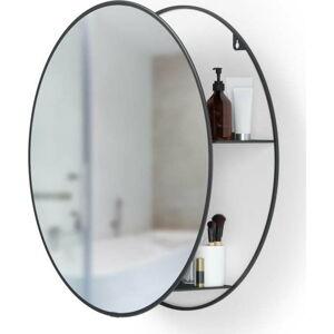 Kulaté nástěnné zrcadlo s černou kovovou policí Umbra Cirko