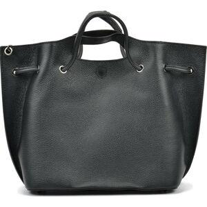 Černá kožená kabelka Mangotti Bags, 46 x 34 cm