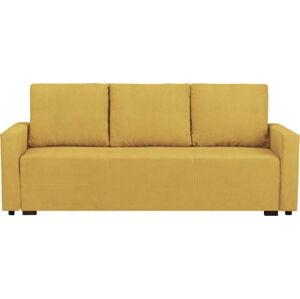 Žlutá třímístná rozkládací pohovka s úložným prostorem Melart Francisco