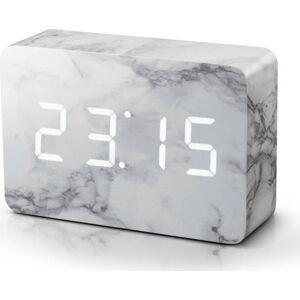 Šedý budík v mramorovém dekoru s bílým LED displejem Gingko Brick Click Clock