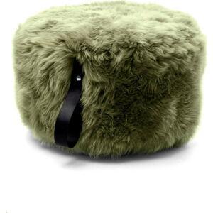 Olivově zelený puf z ovčí kožešiny s černým detailem Royal Dream,Ø60cm