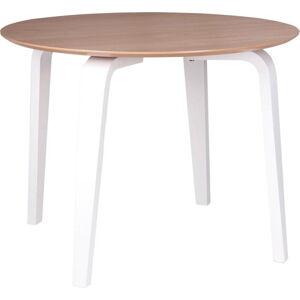 Hnědý jídelní stůl s bílým podnožím sømcasa Nora, ø 100 cm