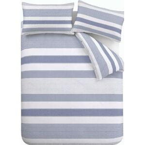Modré povlečení Catherine Lansfield Newquay Stripe, 135 x 200 cm