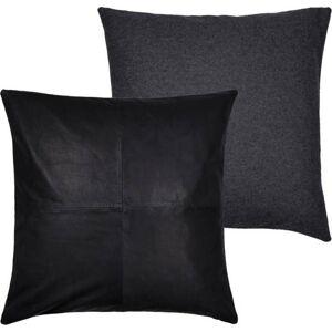 Sada 2 černých polštářů z vlny a kůže Södahl Vincent, 45 x 45 cm