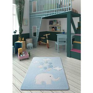 Dětský světle modrý koberec Confetti Sweet Elephant,100x150cm