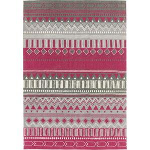 Tmavě růžový koberec Asiatic Carpets Tribal Mix, 120 x 170 cm