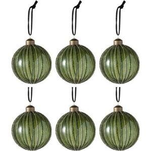 Sada 6 zelených skleněných vánočních ozdob J-Line Pear,ø8cm
