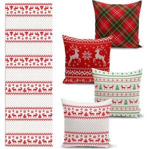 Sada 4 vánočních povlaků na polštář a běhounu na stůl Minimalist Cushion Covers Nordic Knit