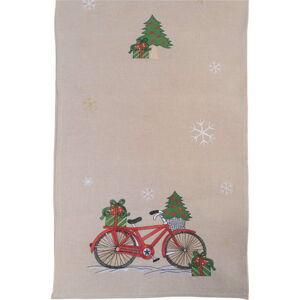 Béžový vánoční běhoun na stůl Villa d'Este Xmas Bicycle,40x175cm