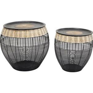 Sada 2 černých odkládacích stolků Kare Design African Drums