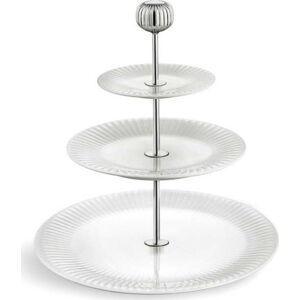 Třípatrový bílý porcelánový etažér Kähler Design Hammershoi Etagere, ⌀ 28 cm