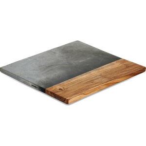 Servírovací prkénko z břidlice a akáiciového dřeva Nkuku Fala, 35 x 35 cm