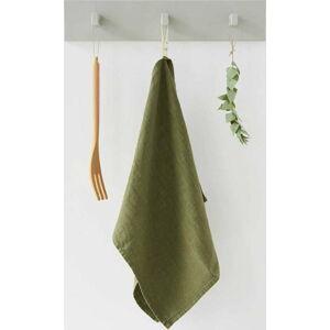 Olivově zelená lněná utěrka Linen Tales, 65x45cm