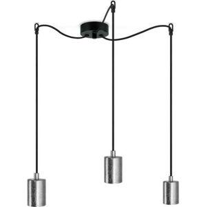Závěsné svítidlo se 3 černými kabely a objímkami ve stříbrné barvě Bulb Attack Cero