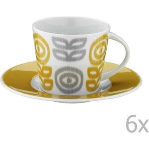 Sada 6 porcelánových hrnků na čaj s podšálky Poulios