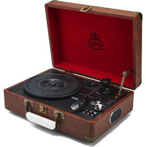 Hnědý gramofon s rádiem GPO Attache Brown