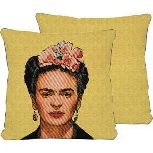 Oboustranný povlak na polštář s příměsí lnu Madre Selva Frida Draw Yellow, 45x45cm
