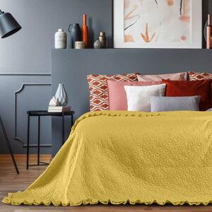 Žlutý přehoz přes postel AmeliaHome Tilia, 260x240cm