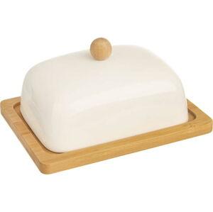 Bílá porcelánová máslenka s bambusovým táckem Orion Whiteline