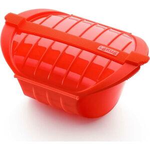 Červená silikonová nádoba pro vaření v páře Lékué Deep Steam Case