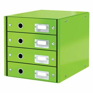 Zelený box se 4 zásuvkami Leitz Office, délka 36 cm