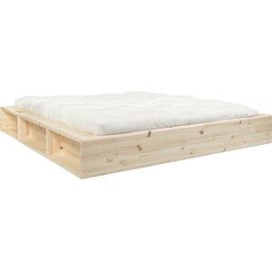 Dvoulůžková postel z masivního dřeva s úložným prostorem a futonem Comfort Mat Karup Design, 180x200cm