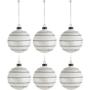 Sada 6 bílo-černých skleněných vánočních ozdob J-Line Xmas,ø8cm