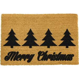 Černá rohožka z přírodního kokosového vlákna Artsy Doormats Merry Trees,40x60cm