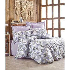 Povlečení s prostěradlem z ranforce bavlny na dvoulůžko Well Lilac, 200 x 220 cm