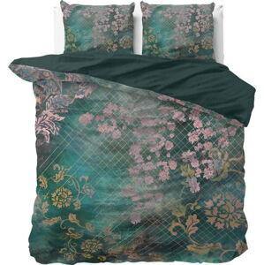 Zelené bavlněné povlečení na dvoulůžko Pure Cotton Tiran Flower,240x200cm
