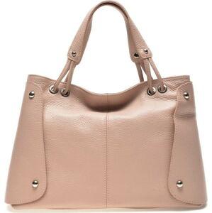 Světle růžová kožená kabelka Carla Ferreri